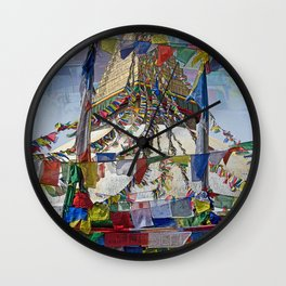 NEPALI PRAYERS CARRIED BY THE WIND FROM FLAGS Wall Clock