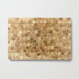 Hexagon wood tiles pattern background Metal Print