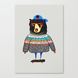Skater Bear. Canvas Print