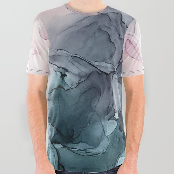 Blush and Payne's Grey Flowing Abstract Painting All Over Graphic Tee