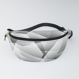 Exclusive light monochrome pattern of chaotic black and white fragments of glass and ice floes. Fanny Pack