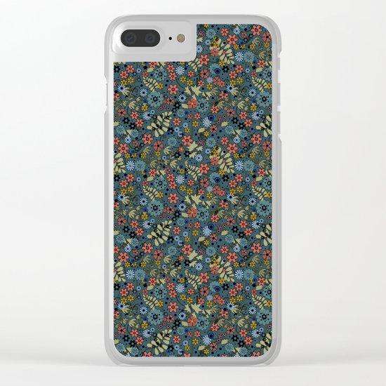 Floral retro colors print Clear iPhone Case