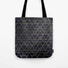 Modern Deco Gold and Marble Geometric Mountains on Navy Blue Tote Bag