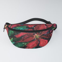Red Christmas Flower Poinsettia floral painting watercolor Fanny Pack