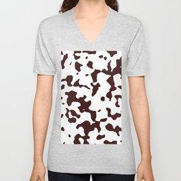 Large Spots - White and Dark Sienna Brown Unisex V-Neck