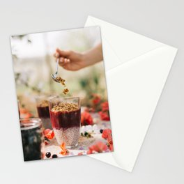 chia seeds pudding with aronia berry Stationery Cards
