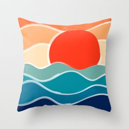 Retro 70s and 80s Color Palette Mid-Century Minimalist Nature Waves and Sun Abstract Art Throw Pillow