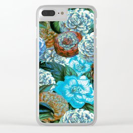 Vintage & Shabby - blue floral camellia flowers watercolor pattern Clear iPhone Case