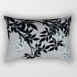 TREE BRANCHES BLACK AND GRAY WITH BLUE BERRIES Rectangular Pillow
