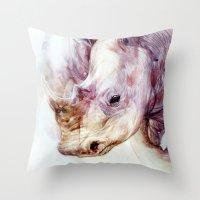rhino Throw Pillows featuring RHINO by beart24