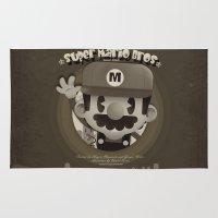 mario bros Area & Throw Rugs featuring Mario Bros Fan Art by danvinci