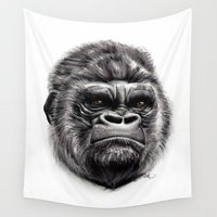 gorilla Wall Tapestries featuring Gorilla by Creadoorm