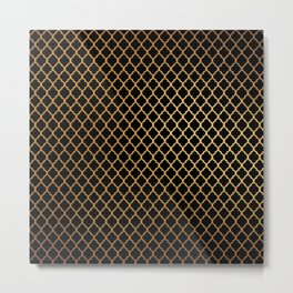 Contemporary Black and Gold Quatrefoil Moroccan Pattern Metal Print