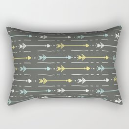 Boho aqua yellow white hand painted arrows Rectangular Pillow