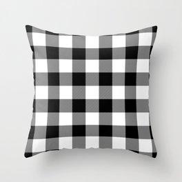 Gingham (Black/White) Throw Pillow