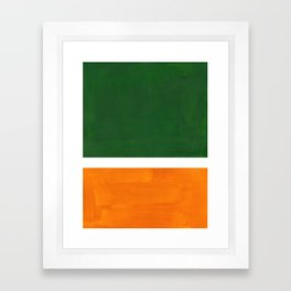 Forest Green Yellow Ochre Mid Century Modern Abstract Minimalist Rothko Color Field Squares Framed Art Print