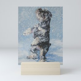 SCHNAUZER in the Snow dog art from an original painting by L.A.Shepard Mini Art Print