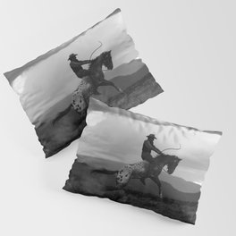 Black and White Cowboy Being Bucked Off Pillow Sham