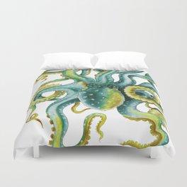 Octopus Tentacles Green Watercolor Art Duvet Cover