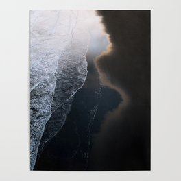 Waves on Black Sand Beach during Sunset in Iceland Poster