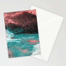 Volcanic mainsail on Mediterranean sea surreal landscape Stationery Cards