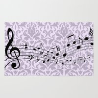 music notes Area & Throw Rugs featuring Damask Music Notes by Jessica Wray