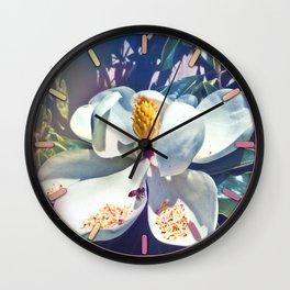 Magnolia Blossom and Bee Wall Clock