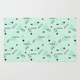Abstract geometrical teal black 80s memphis pattern Rug