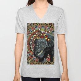 Elephant Red and Gold Indian Yoga Mandala Unisex V-Neck