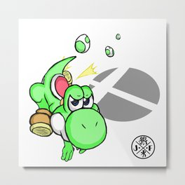 3....2....1...GO! : Yoshi(green) Metal Print