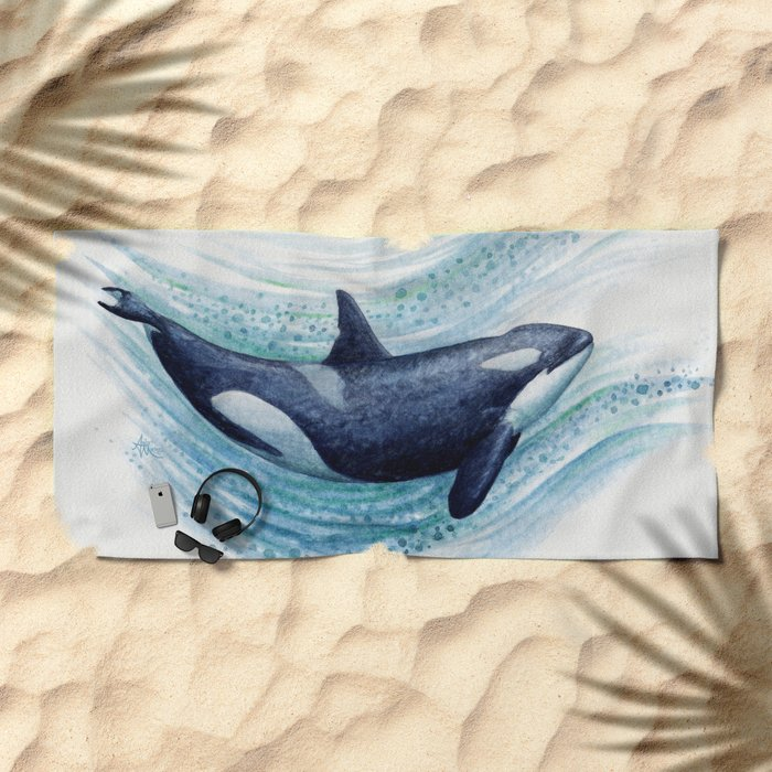 """""""Orca Spash"""" by Amber Marine ~ Watercolor Killer Whale Painting, (Copyright 2016) Beach Towel"""