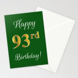 """Elegant """"Happy 93rd Birthday!"""" With Faux/Imitation Gold-Inspired Color Pattern Number (on Green) Stationery Cards"""
