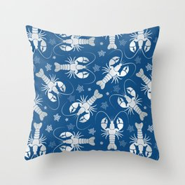 Lobster Love Classic Blue Throw Pillow