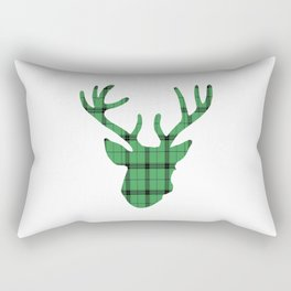 Plaid Deer Head: Green Rectangular Pillow