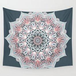 Expansion - boho mandala in soft salmon pink & blue Wall Tapestry