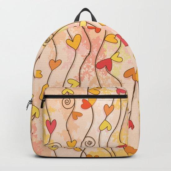 Heart and Spiral Botanic Pattern III - Fall Love Backpack