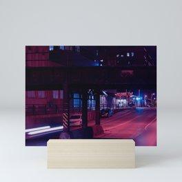 Milwaukee Cyberpunk Bridge at Night Mini Art Print