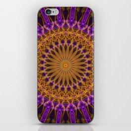 Pretty violet and golden mandala iPhone Skin