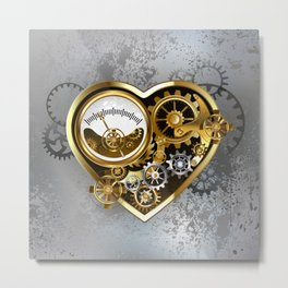 Steampunk Heart with Manometer Metal Print