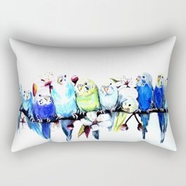 Bloomin' Budgies Rectangular Pillow
