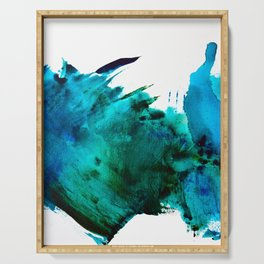 Crashing Waves: a vibrant minimal abstract design in blue, green, and white by Alyssa Hamilton Art  Serving Tray