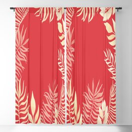 Tropical Leaves Poppy Red Rainforest Palm Beach Cottage Decor Blackout Curtain