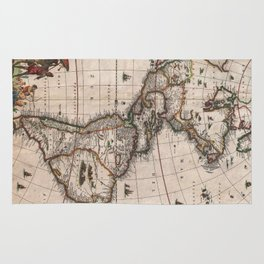 Vintage Map of North and South America (1658) Rug