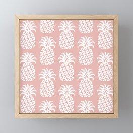 Retro Mid Century Modern Pineapple Pattern Dusty Rose 2 Framed Mini Art Print