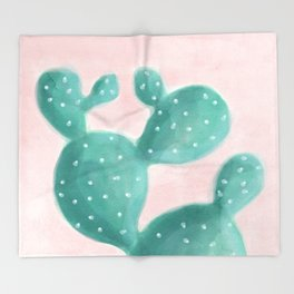 Cactus on pink Throw Blanket