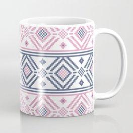Grey and Pink Ukrainian Folk Pattern Coffee Mug
