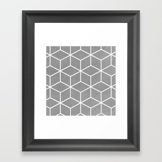 Light Grey and White - Geometric Textured Cube Design by catherinebuggins