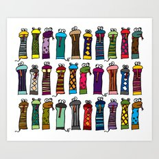 Slithery Socks Art Print