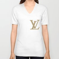 lv V-neck T-shirts featuring Side LV by Goldflakes