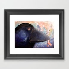 The raven who steals your socks Framed Art Print